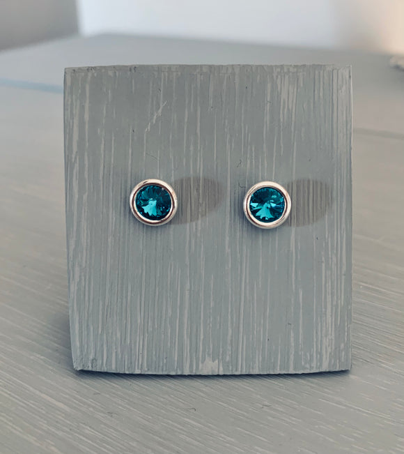 Blue Zircon Swarovski Earrings – Sterling Silver Setting – December Birthstone – Mother's Day - Wedding Accessoriesf