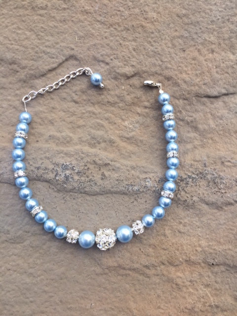 Light Blue Swarovski Pearl Bracelet – Gifts for Her – Bridesmaids Gifts – Wedding Accessories