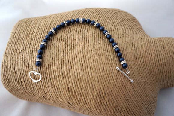 Navy Swarovski Pearl Bracelet – June Birthstone - Gifts for Her – Wedding Accessories