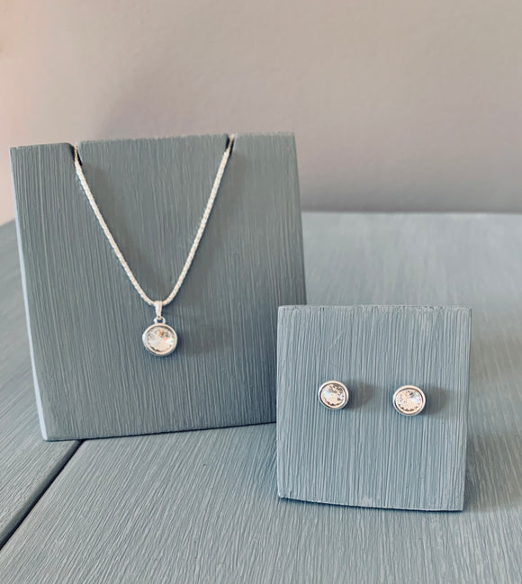 Crystal Necklace & Earring Pendant set - Sterling silver setting – April Birthstone – Wedding Accessories  – Bridesmaids Accessories