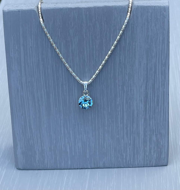 Aquamarine  Swarovski Crystal Necklace – Wedding Accessories – March Birthstone Gifts