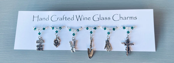 Set with Emerald Swarovski Crystals and finished with  garden themed charms make these gorgeous wine glass charms - great gift for Mother's Day, New Home or Birthday