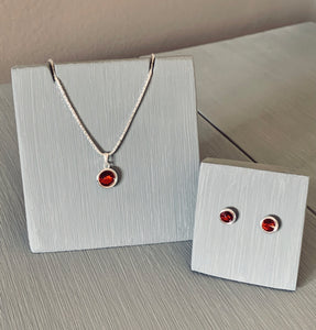 Garnet Crystal Necklace & Earring Pendant set -  January Birthstone – Valentine's Gift for Her