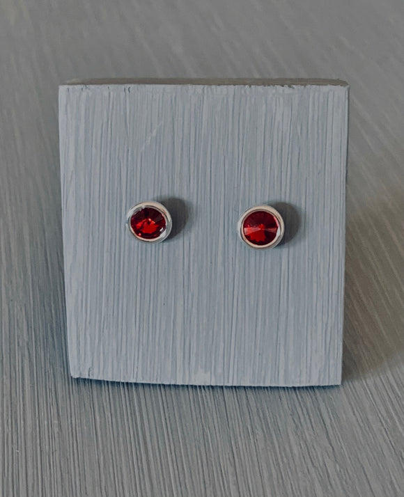 Garnet Crystal Earrings in silver setting