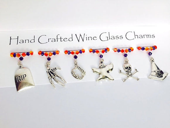 Halloween - Wine Glass Charms - Ghosts & Ghouls - Halloween Party - Halloween Gifts