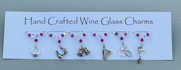 Add to the fun with these girly themed Hen Party Wine Glass Charms - A great accessory to add to those wedding celebrations - Handmade With Swarovski Crystals and Tibetan girly and wedding themed charms - A Free Bride to Be charm is also sent with every order as a special gift for the bride
