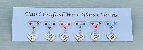 Handmade Hen Party Wine Glass Charms - Finished with silver plated heart charms engraved with Hen Party and Swarovski Crystals - perfect additional accessory for your Wedding Celebrations  - Free Bride To Be Wine Glass Charm with every order