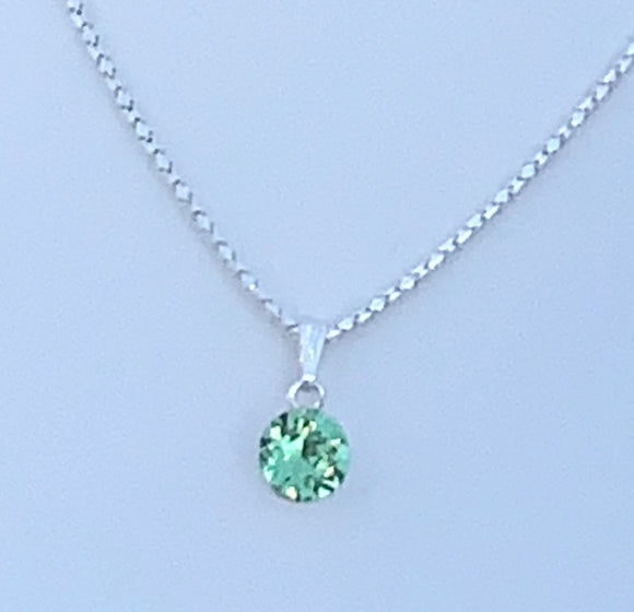 Peridot Swarovski Crystal  Necklace – Wedding Accessories – August Birthstone Gifts
