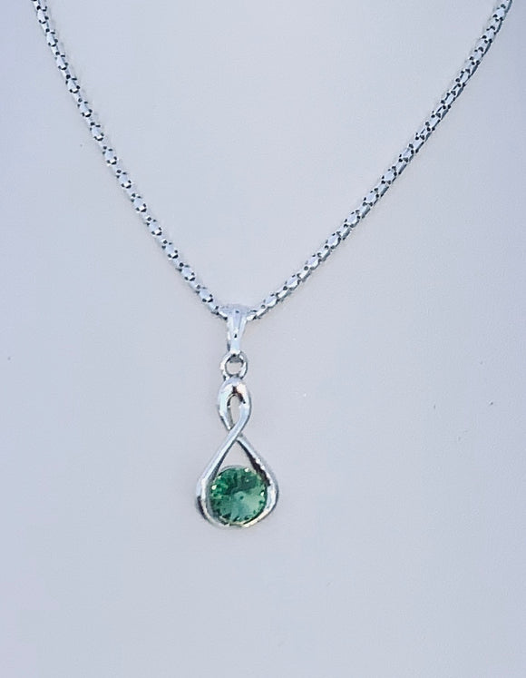 Peridot Swarovski Crystal Infinity Necklace – Wedding Accessories – August Birthstone Gifts