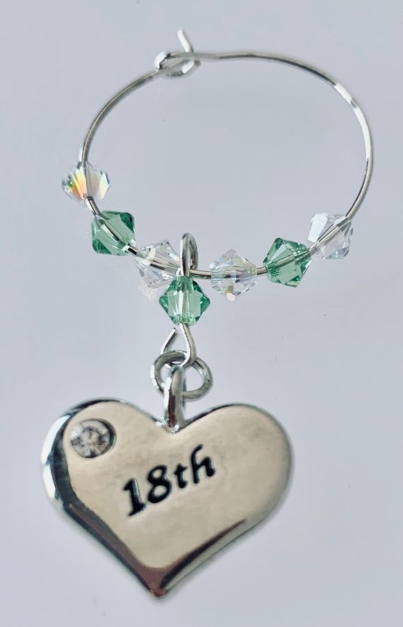 18th Heart Wine Glass Charm - Peridot - August Birthstone Colour - Birthday Gifts - Swarovski