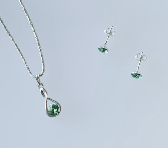 Peridot Infinity Necklace & Earring Set - August Birthstone Colour - Wedding Accessories