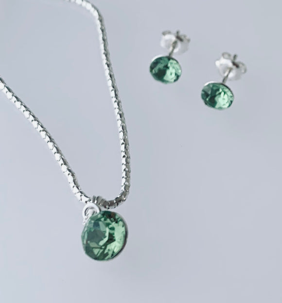 Peridot Swarovski Crystal Necklace & Earring Set - August Birthstone - Wedding Accessories
