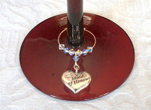 Maid of Honour Wine Glass Charm – Wedding Favour – Top Table Decorations – Wedding Accessories