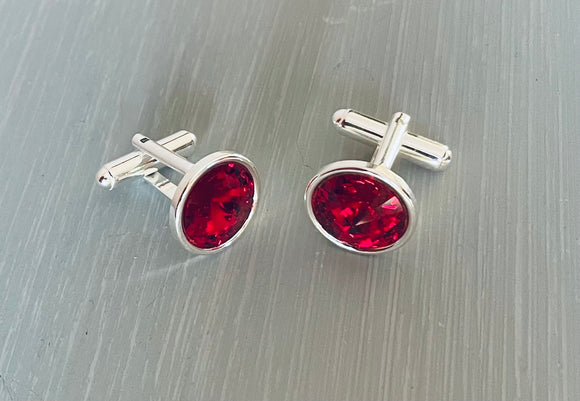 Handmade Ruby Swarovski Crystal Cufflinks - Silver Cufflinks - Gifts for Him - Ruby is the July Birthstone Colour - Crystal is the chosen choice for 15th  Wedding Anniversary - Father's Day Gifts - Valentine's - Wedding Accessories