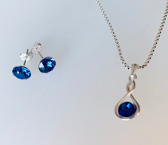 Sapphire Infinity Necklace & Earring Set - September Birthstone Colour - Wedding Accessories