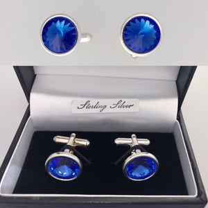 Sapphire Swarovski Cufflinks - September Birthstone Colour – Wedding Accessories
