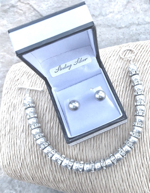 Grey Pearl Bracelet & Earring set - June Birthstone - Mother of the Bride - Wedding Accessories, Bridal Jewellery