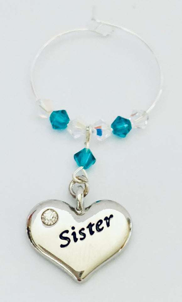 'Sister' Wine Glass Charm - Blue Zircon - December Birthstone