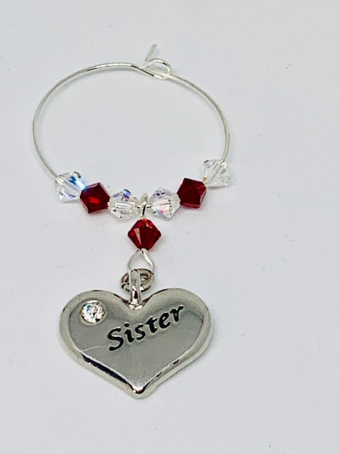 Sister Wine Glass Charm – Garnet – January Birthstone