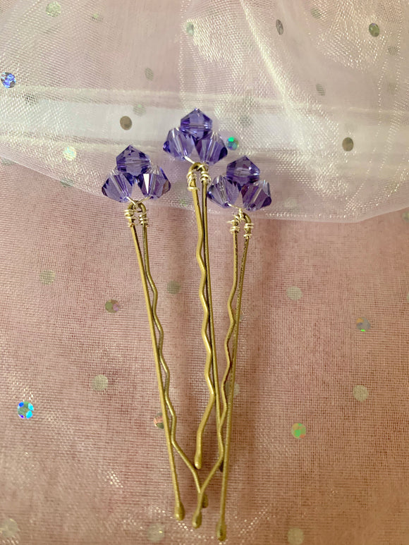 Tanzanite Crystal Hair Pins