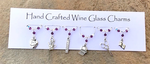 Teachers Gifts - Wine Glass Charms - School Themed - Thank You Gifts