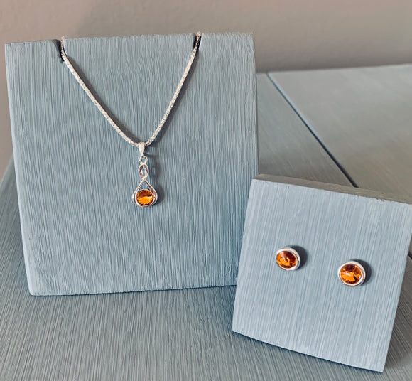 Topaz Infinity Necklace & Earring Set - November Birthstone Colour - Wedding Accessories