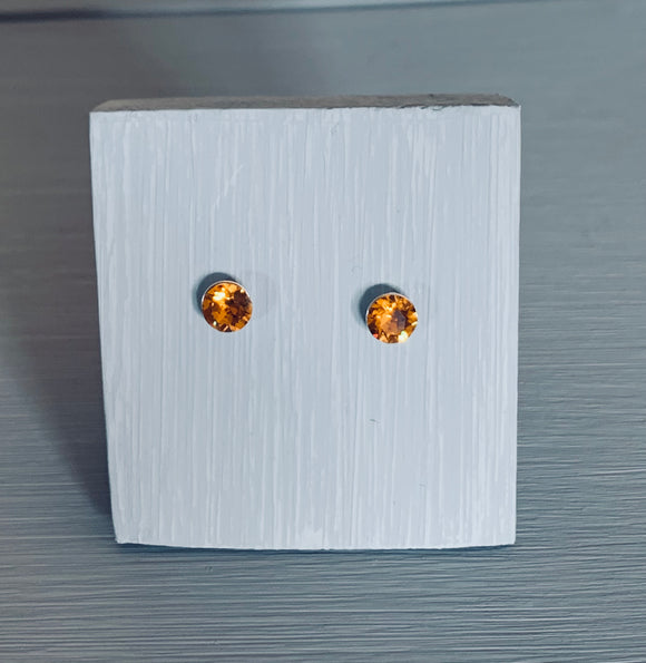 Topaz sterling silver stud earrings – November birthstone – Wedding accessories