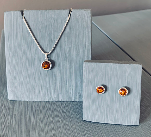 Topaz Crystal Necklace & Earring Pendant set - sterling silver setting – November Birthstone – Wedding Accessories  – Bridesmaids Accessories