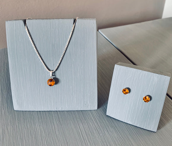 Topaz Crystal Necklace & Earring Solitaire set - sterling silver setting – November Birthstone – Wedding Accessories  – Bridesmaids Accessories
