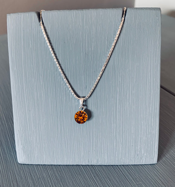 Topaz Swarovski Crystal  Necklace – Wedding Accessories – November Birthstone Gifts - Bridesmaids Gifts
