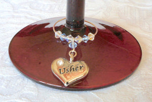 Usher Wine Glass Charm – Wedding Favour – Top Table Decorations – Wedding Accessories