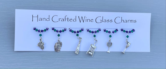 Wine Themed Wine Glass Charms - Set with Crystals and Wine themed Tibetan charms - New Home Gift - Birthday Gifts for Her - Mother's Day