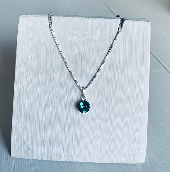 Swarovski Emerald Crystal  Necklace – Wedding Accessories – May Birthstone Gifts - Bridesmaids Gifts
