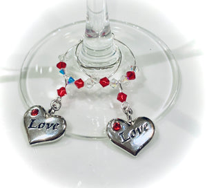 Love Heart Wine Glass Charms - Valentine's Day