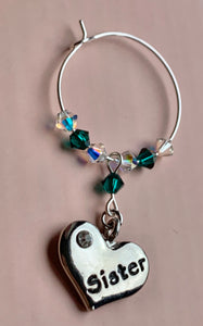 Sister Wine Glass Charm - Emerald - May Birthstone