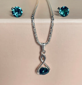 Swarovski Emerald Infinity Necklace & Earring Set - May Birthstone - Wedding Accessories