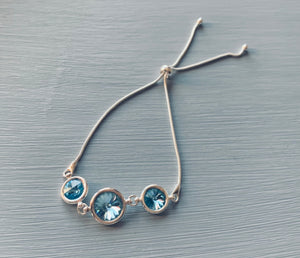 Swarovski Aquamarine adjustable 925 Stirling Silver Bracelet - March birthstone