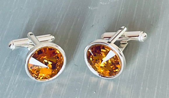Silver Cufflinks - Topaz - November Birthstone - Father's Day - Anniversary Gift