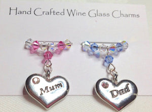 Mum and Dad Wine Glass Charms - Anniversary Gift - Christmas Gifts - Wedding Gifts