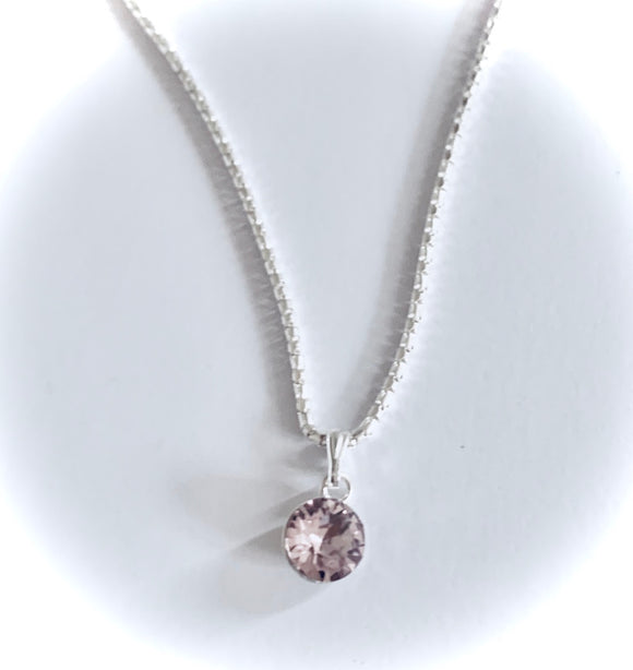 Light Amethyst Swarovski Crystal  Necklace – Wedding Accessories – June Birthstone Colour Gifts