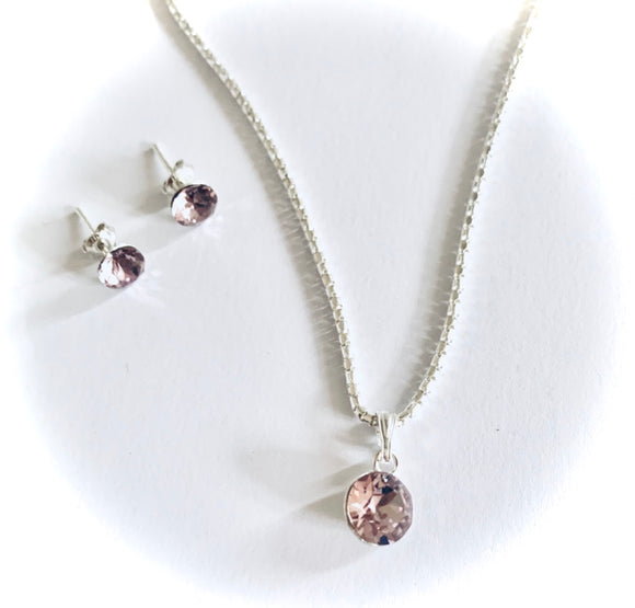 Light Amethyst Swarovski Crystal Necklace & Earring Set - June Birthstone Colour - Wedding Accessories