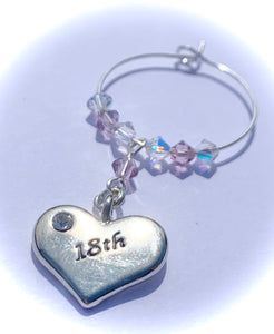 Light Amethyst 18th Heart Wine Glass Charm