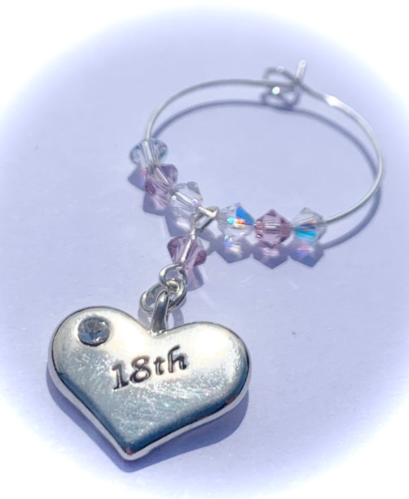 18th Heart Wine Glass Charm -Light Amethyst - June Birthstone Colour - Birthday Gifts - Swarovski