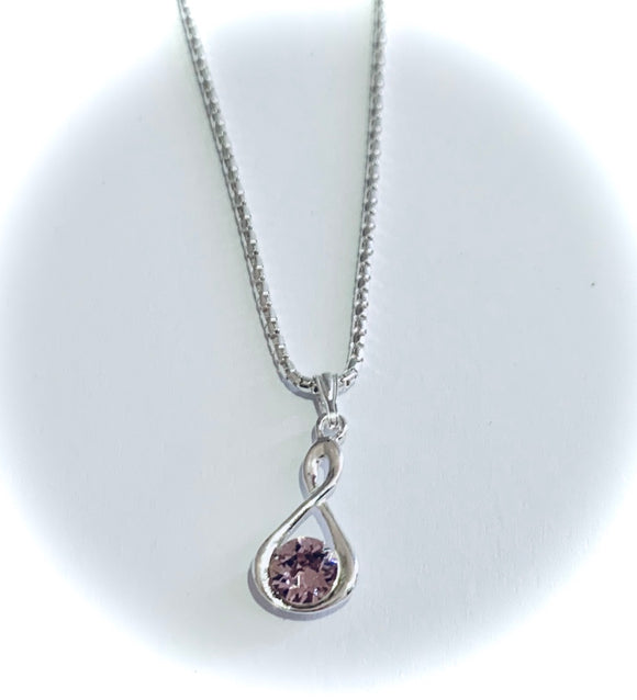 Light Amethyst Swarovski Crystal Infinity Necklace – Wedding Accessories – June Birthstone Colour