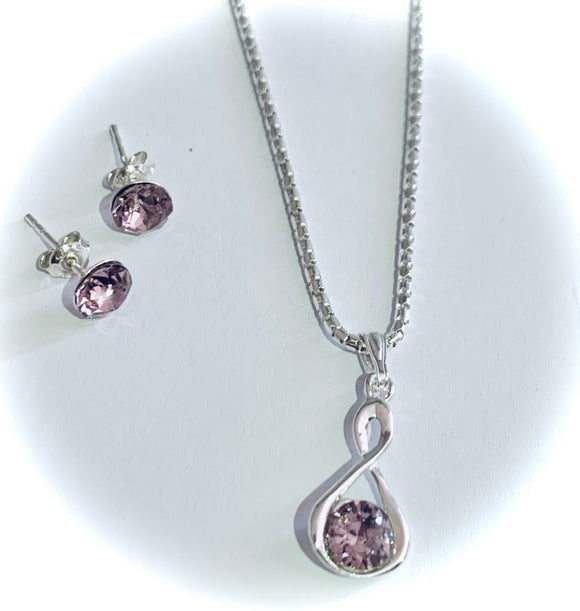 Light Amethyst Infinity Necklace & Earring Set - June Birthstone Colour - Wedding Accessories