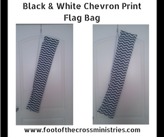 Black & White Chevron Print Flag Bag