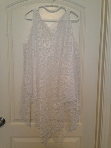 White Lace Sleeveless Overlay with Gold Ribbon