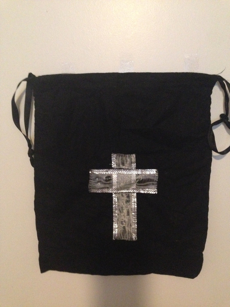 Jazz shoe bag-black with silver cross