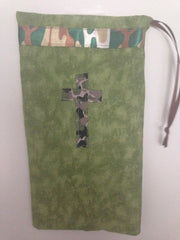 Ballet shoe bag-green with cross