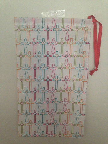 Ballet shoe bag-white with colorful cross print (ONLY 3 LEFT)